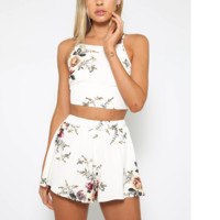 Fashion women white floral print short sleeve and shorts two piece suit