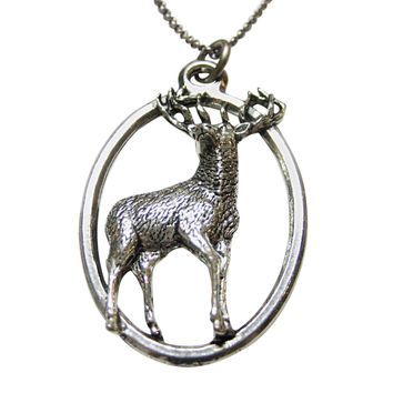 Stag Deer Large Oval Pendant Necklace