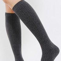 Fitted Cable Knit Knee High Socks | MakeMeChic.com
