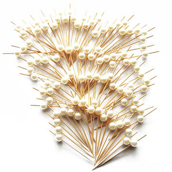 """PuTwo 3.6"""" Cocktail Sticks Party Frilled Toothpicks, Sandwich, Appetizer, Cocktail Picks Party Supplies Plates Picks 100 Count - White Pearl"""
