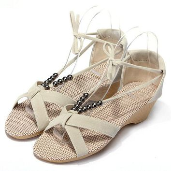 Streetstyle  Casual Casual Suede Beades Wedge Shoes Sandals