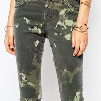 Current Elliot Stiletto Mid Rise Skinny Jeans With Army Camo Print
