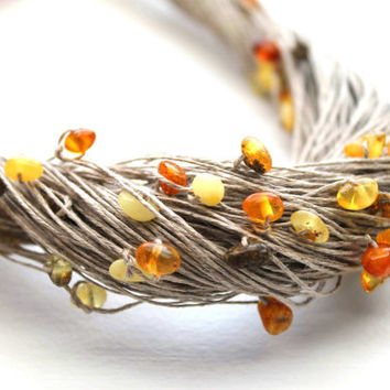 Amber Linen Necklace Baltic Amber Jewelry Pure Natural Eco Jewelry Yellow Gold Carmel Orange Brown Beach Boho Style