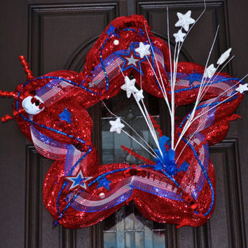 Fourth of July Wreath, 4th of July, 4th of July Decor, Wreath, Holiday Wreath, Star, Star Wreath, Patriotic Wreath, Patriotic