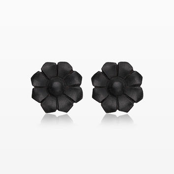 A Pair of Black Wild Flower Handcarved Wood Earring Stud