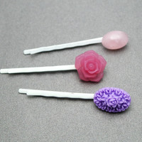 Flower And Rose Quartz Bobby Pin Trio