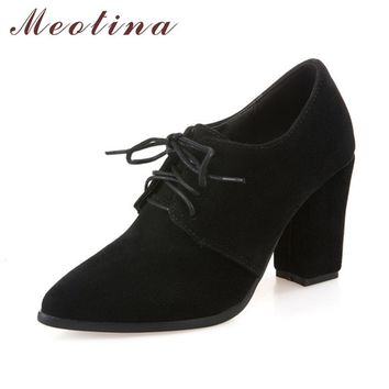 Meotina Shoes Women High Heels Women Pumps Autumn Lace Up Dress Thick Heels Pointed To