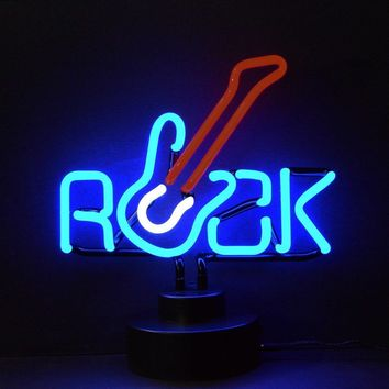 Rock With Guitar Neon Sculpture