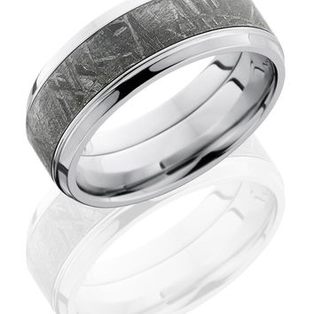 Cobalt Chrome wedding ring hand crafted 9mm Beveled Band with 5mm Meteorite