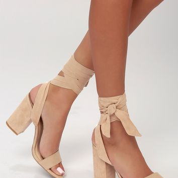 Alta Natural Suede Lace-Up Heels