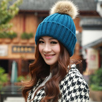 Women Winter Hat  Faux Rabbit Fur Ball Warm Crochet Knitted Wool Cap Gorros E Toucas Feminina #2458