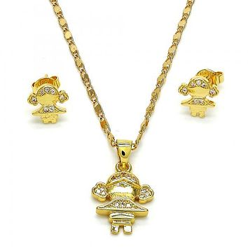 Gold Layered 10.156.0073 Necklace and Earring, Little Girl Design, with White Micro Pave, Polished Finish, Golden Tone