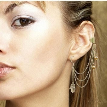 Silver  Clip Earrings for women Brincos  Earrings    Silver Jewelry Earrings for women (Color: Gold) = 5613050689