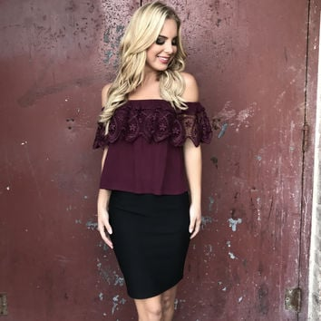 Lunar Off Shoulder Crochet Plum Blouse