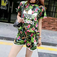 """""""Adidas"""" Fashion Casual Multicolor Clover Letter Flower Print Short Sleeve Sweater Set Two-Piece Sportswear"""