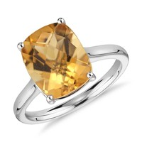 Citrine Cushion Cut Ring in 14k White Gold (11x9mm) | Blue Nile