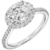 "Artcarved ""Paige"" East-West Oval Set Halo Diamond Engagement Ring"