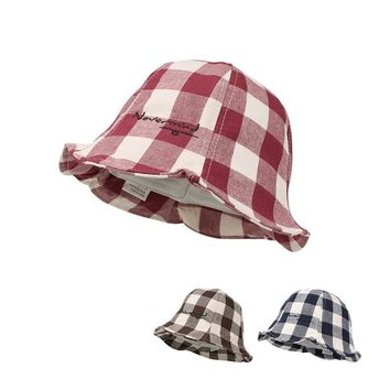 Casual Plaid Baby Hat Cotton Boys Girls Sun Cap Spring Summer Kids Clothes Fashion Baby Girals Bucket Hat Baby Girls Clothing