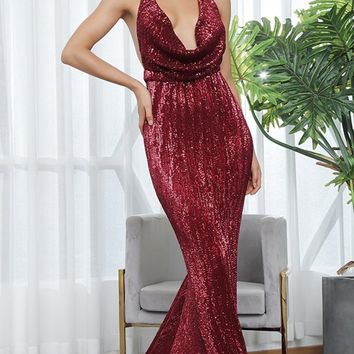 Know My Name Burgundy Sequin Sleeveless Spaghetti Strap Backless Halter Draped Cowl Neck Mermaid Maxi Dress