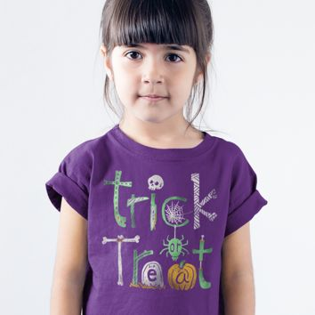 Kids Funny Halloween T Shirt Trick Or Treat Graphic Tee Cool Typography Halloween Shirts Boy's Girl's Toddler Shirt
