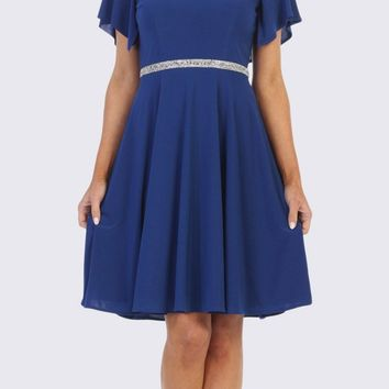 bf268f080ef Royal Blue Embellished Waist Short Wedding Guest Dress