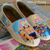 Disneyland It's a Small World Ride Disney World Inspired painting on Vans or TOMS Artwork and shoes included
