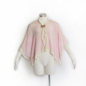 Vintage 1920s Bed Jacket - Light Pink Silk Lace  - Small / Medium