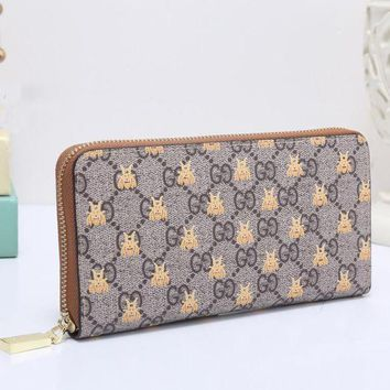 PEAPUP0 GUCCI Bee Women Fashion Embroidery Leather Buckle Wallet Purse Clutch Bag2