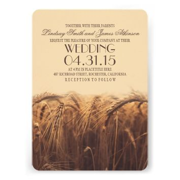 elegant rustic wheat wedding invitations