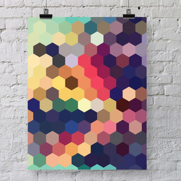 Geometric Art Print  - Honeycomb Hexagon Pattern - Colorful Modern Home Decor - Geometry Poster - Colorful Geometric Decor - SKU: 152-B