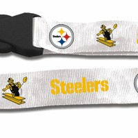 Pittsburgh Steelers Breakaway Lanyard With Key Ring  Retro Style