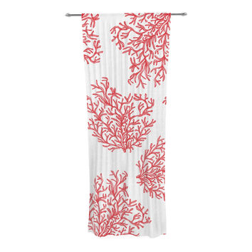 "Anchobee ""Coral"" Red White Decorative Sheer Curtain"
