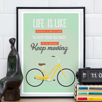 Inspirational art, Quote print, Inspirational print, Bike poster, Life is like a, mint green wall art, retro print, mdoern wall decor