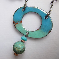 Turquoise Larimar Enamel Necklace Blue Green Art by OxArtJewelry
