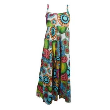 Mogul Bohemian Women's Long Cotton Dress Colorful Summer Party Boho Style Dresses - Walmart.com