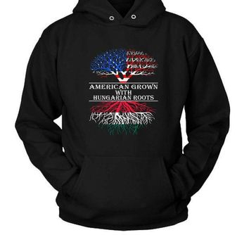 American Grown With Hungarian Roots Hoodie Two Sided