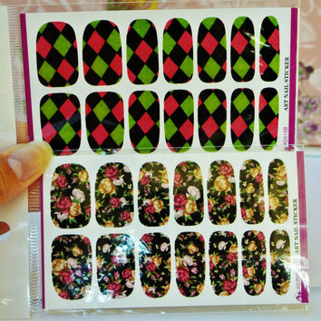 2 Packs of Floral nail wrap, Checkered Nail Art, Nail Design, Floral Nails, Nail Decoration, water decals, Roses, Nails, Geometric Nail Art
