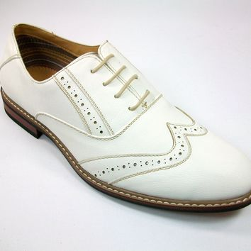 Mens Ferro Aldo Wing Tip Lace Up Dress Oxford Shoes 19270 White-390