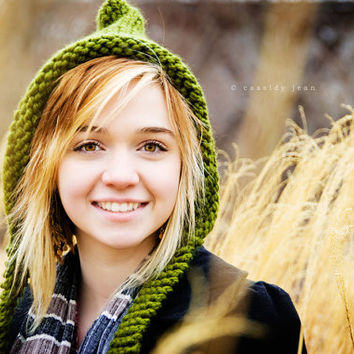 Womens Knitted Olive Green Pixie Hat Fall Fashion Winter Accessories - READY TO SHIP