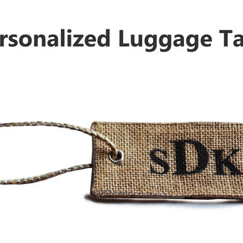 Personalized Luggage Tag -Burlap Wedding Luggage Tags