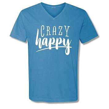 Sassy Frass Crazy Happy V-Neck Comfort Colors Girlie Bright T Shirt