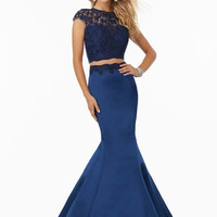 Mori Lee 99080 Embroidered Crop Top Prom Dress
