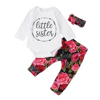 3pcs Toddler Infant Baby Girls Floral Clothes Set