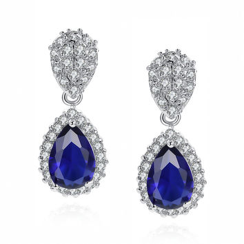 Blue Teardrop and Clear Round Cubic Zirconia Earrings