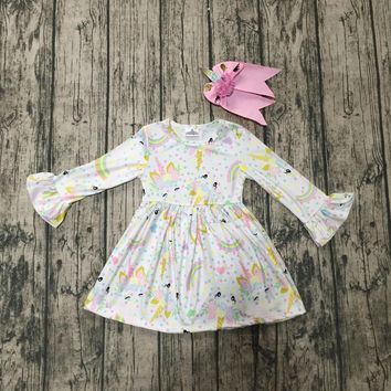 exclusive Fall/winter milk silk baby girls kids boutique clothes dress long sleeve unicorn rainbow ruffles with match bow kids