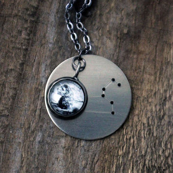 Constellation Necklace, Zodiac Pendant - Custom Astrological Star Sign Necklace with Hevelius Atlas Star Map, Cancer Leo July Birthday