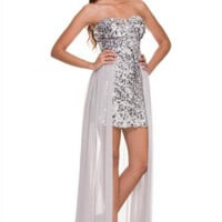 PRIMA Glitz GZ1537 Sequin High Low Homecoming Cocktail Dress