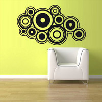 rvz1090 Wall Vinyl Sticker Bedroom Decal Circles Retro
