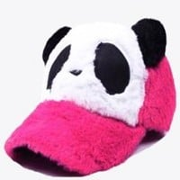 Fashionable Panda Furry Hat for Adults Hot Pink Color