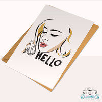 Adele hello happy birthday love card Typography humor Card Stock Anniversary Card